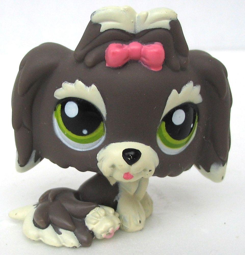 Littlest Pet Shop Gray Lhasa Apso Shih Tzu Dog Green Dot Eyes Pink