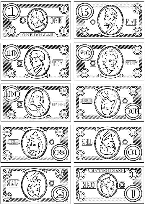 Inspiration Printable Play Money Black And White For The Wee Ones