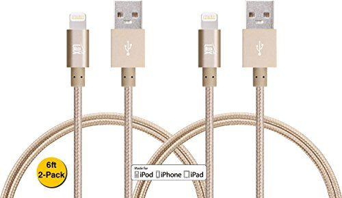2Pack iPhone Charger Cord LAX 6ft Long Apple MFi Certified Fast and Strong Braided Lightning Cable for iPhone 7  7 Plus  6s  6  SE  iPad Air 2  Air  Mini 4  Pro 2Pack 6ft Gold -- Check out the image by visiting the link.
