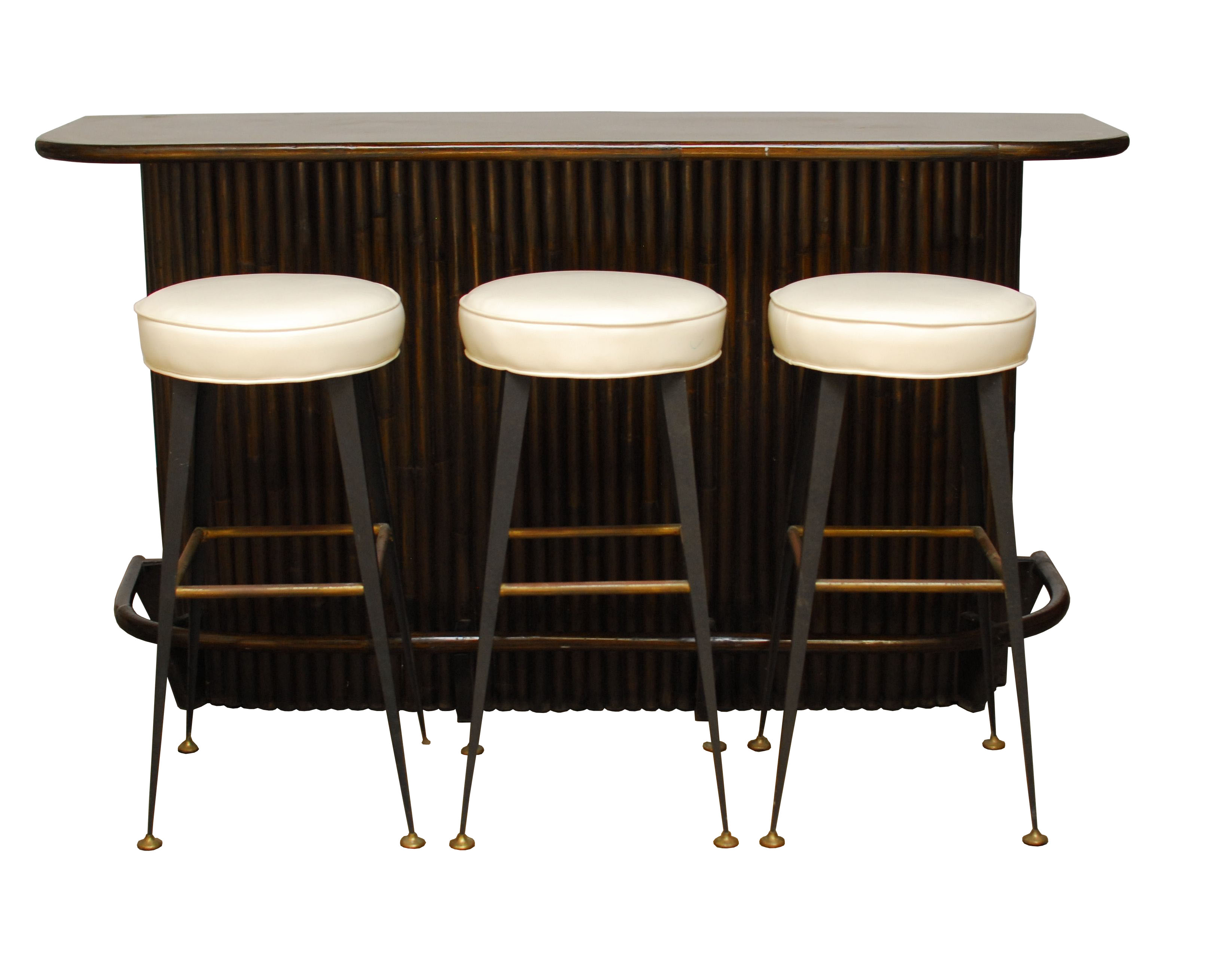 Ebonized Bamboo Bar and Stools Set on Chairish.com