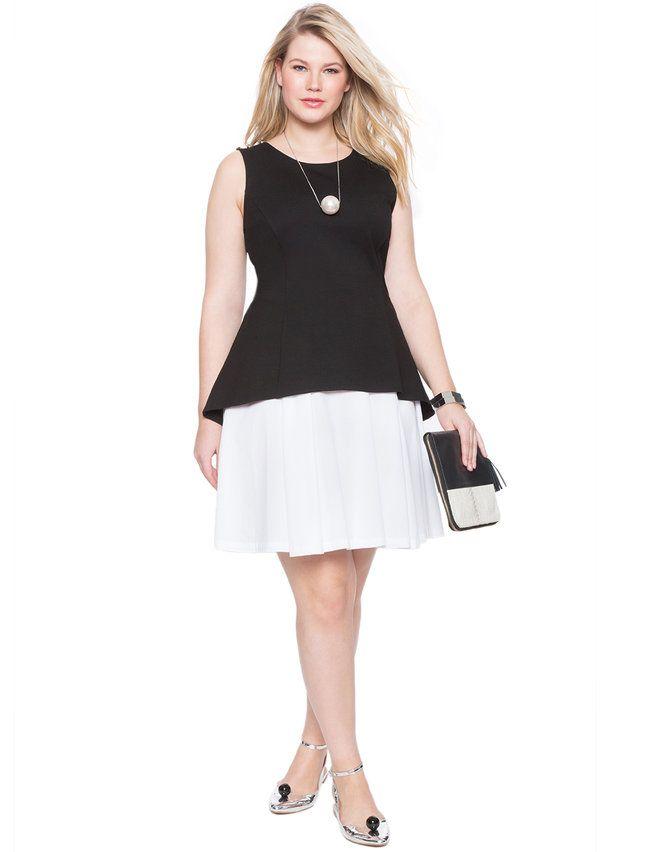 Layered Colorblock Dress Blackwhite Full On Fashion Pinterest