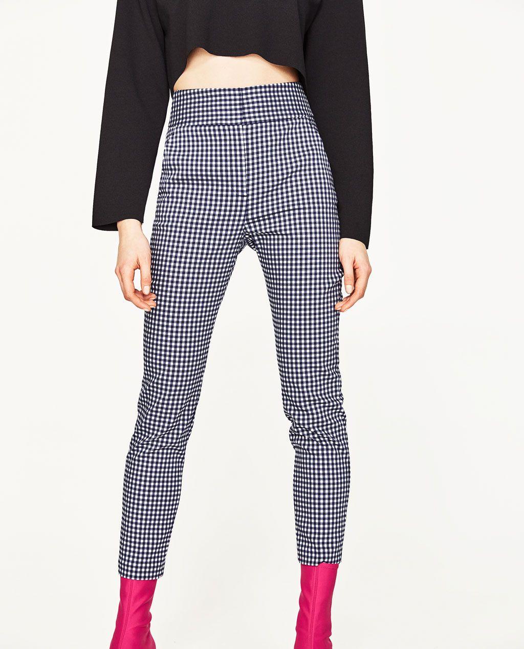 high waist checked trousersview alltrouserswoman zara