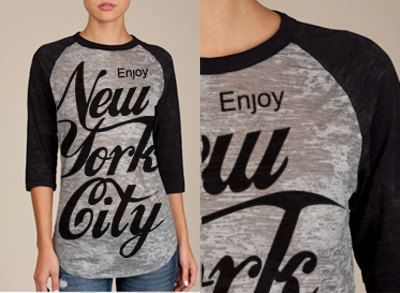 seen on Madonna  Enjoy New York City  burnout baseball by coup, $39.00