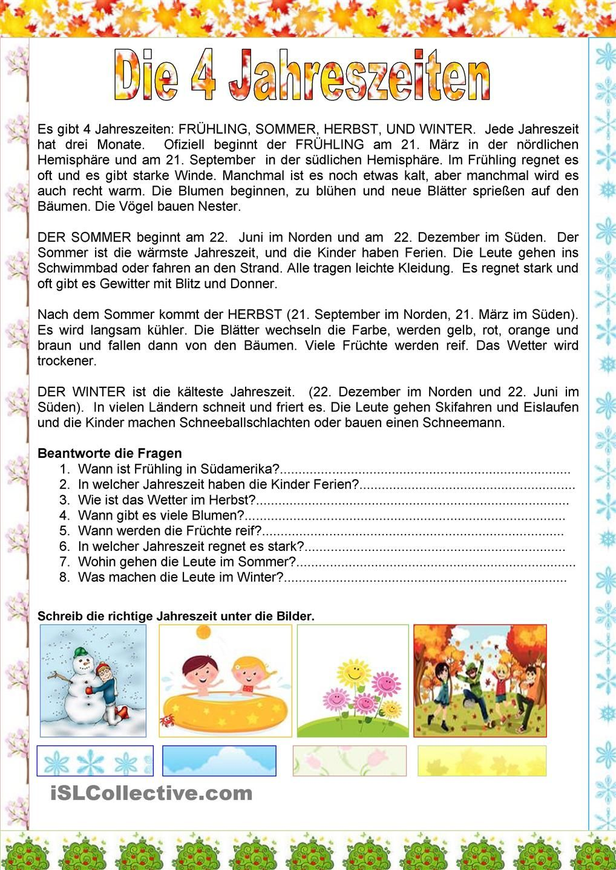 Die 4 Jahreszeiten | German Language | Pinterest | German, Learn ...