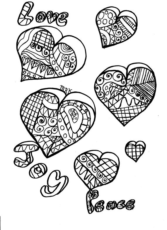 Coloring pages flowers hearts curly cues by GeniesWishesHandmade