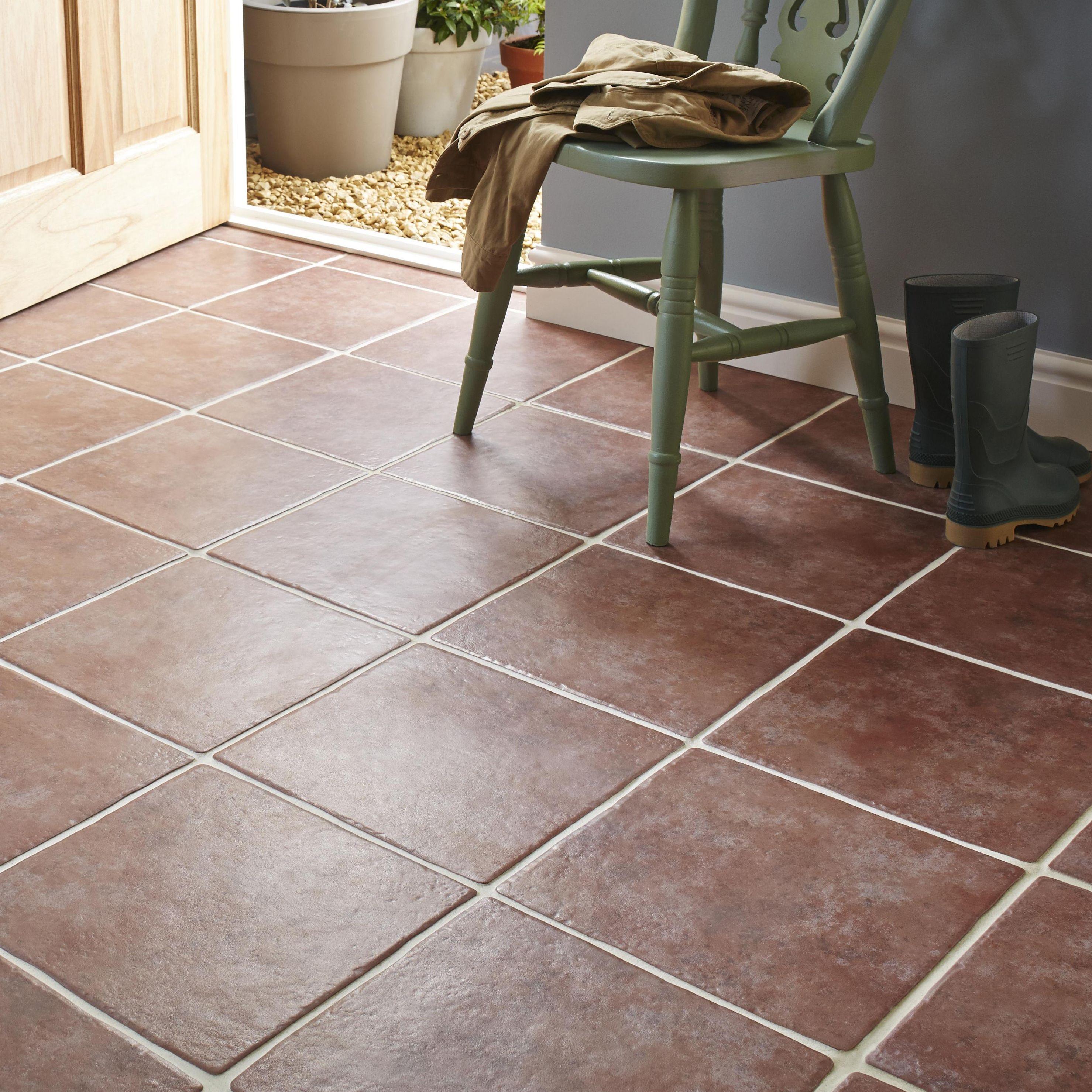Bq Ceramic Kitchen Floor Tiles Calcuta Red Ceramic Floor Tile Pack Of 9 L330mm W330mm Diy