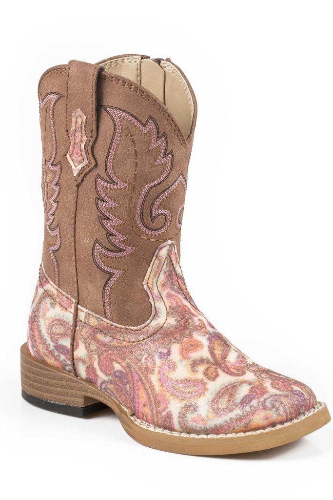 Roper Glitter Paisley Infant Brown Faux Leather Girls Cowboy Boots ... 875d95e423