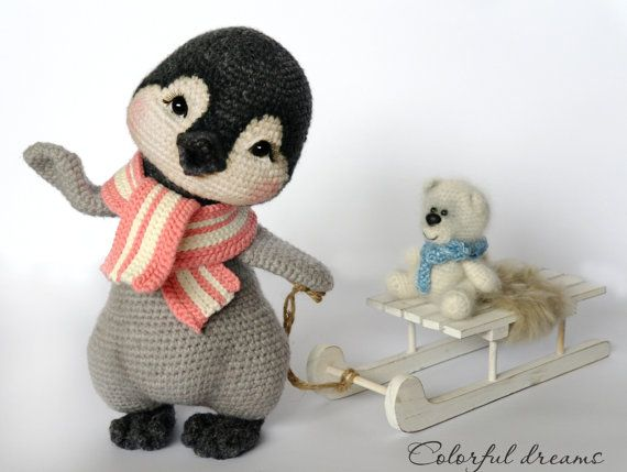 Little penguin Lina, 27cm height. There is a wire inside the body, so that we could fix wings and legs in different positions. Pattern of the bear is included.  PATTERN IN PDF FORMAT! Not a toy! The pattern does not contain basic course of crocheting – you should already have the basic knowledge.  The pattern includes 10 pages with description and pictures. Difficulty: easy to intermediate.   This pattern is available in ENGLISH, GERMAN. Abbreviations: USA crochet terms  Materials: ✓ 50gr of…
