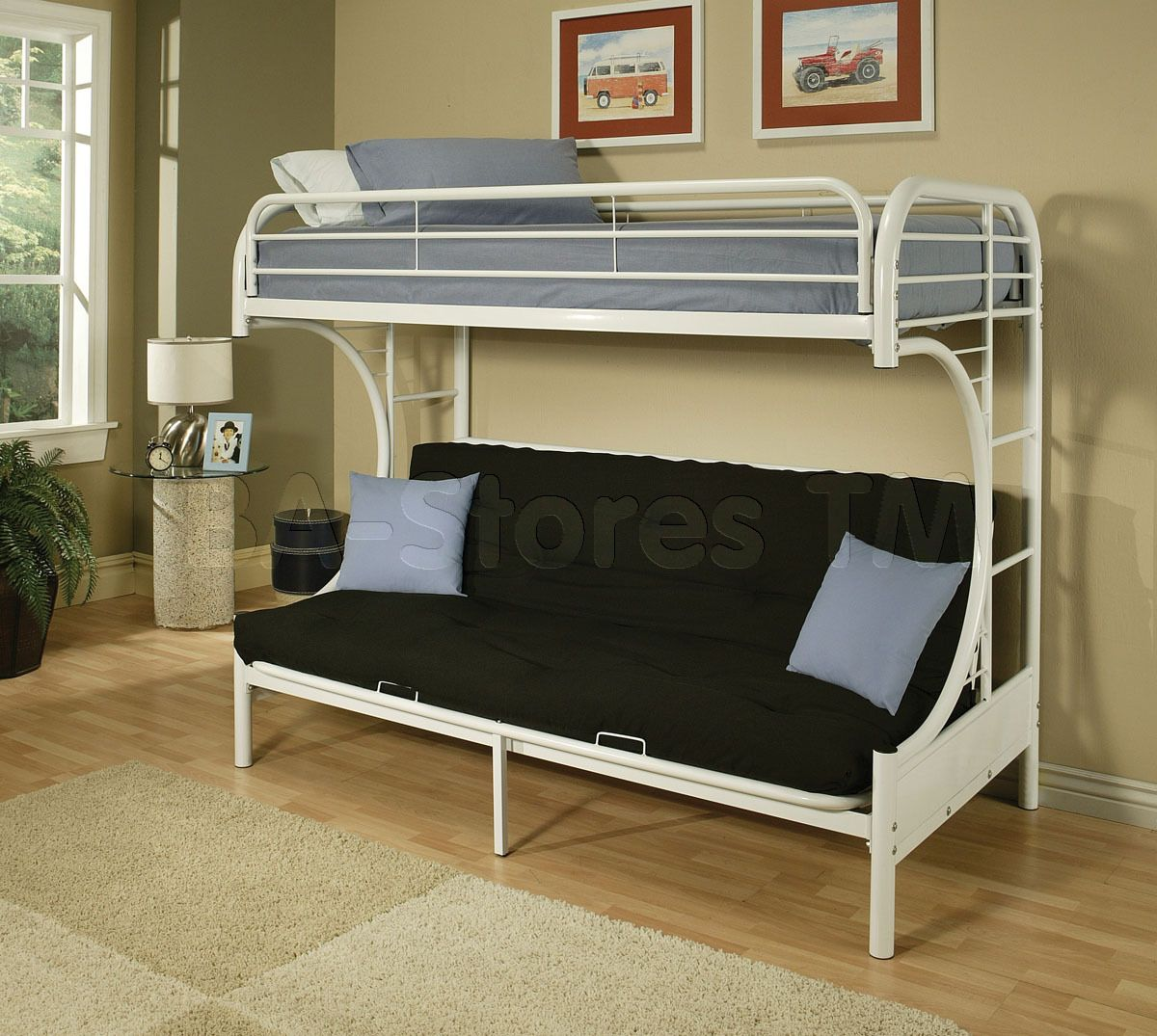 Eclipse White Metal Twin over Full Futon Bunk Bed Futon