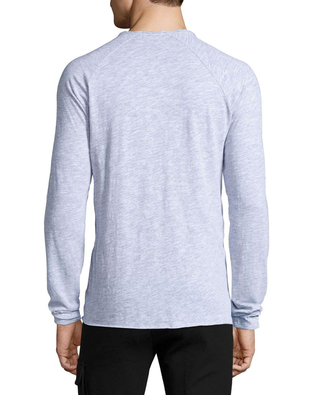 Raglan-Sleeve Slub Henley Shirt, Light Gray