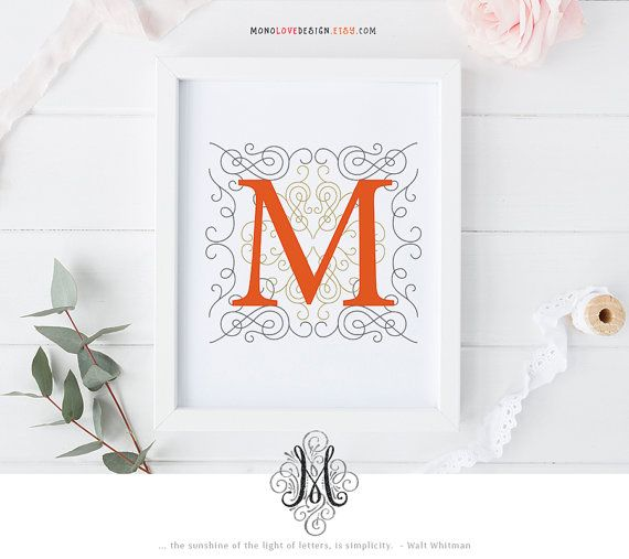 This is a printable customizable monogram design perfect for birthday gift, personal wall art, personal monogram or logo, nursery decor or baby shower gifts. Please review the following before placing your order.  Size: 8x 10 Format: JPG & PDF  When placing your order, please choose from the drop down menu your choice of LETTER (A-Z).  There are two colors as options for this pre-made design, or you may choose your own color for $5 extra Add-on. Please purchase the Add-on listing here - w...