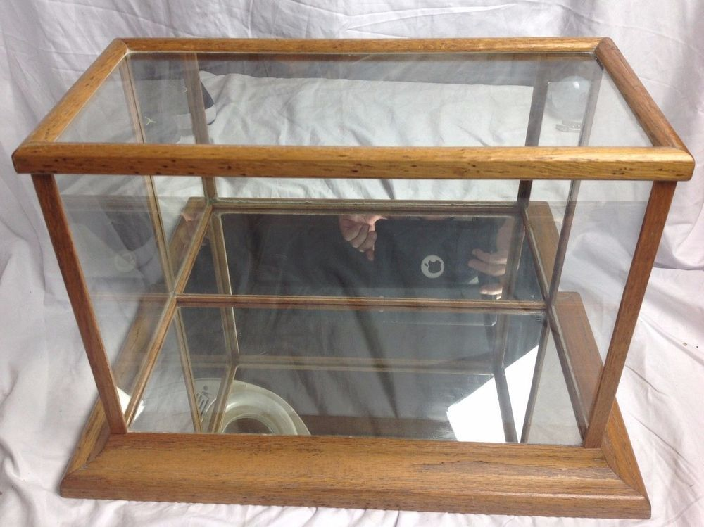 Vtg Wood Glass Display Case Mirrored Table Top Model Car Collectible Doll Box Glass Display Case Wood Glass Mirror Table