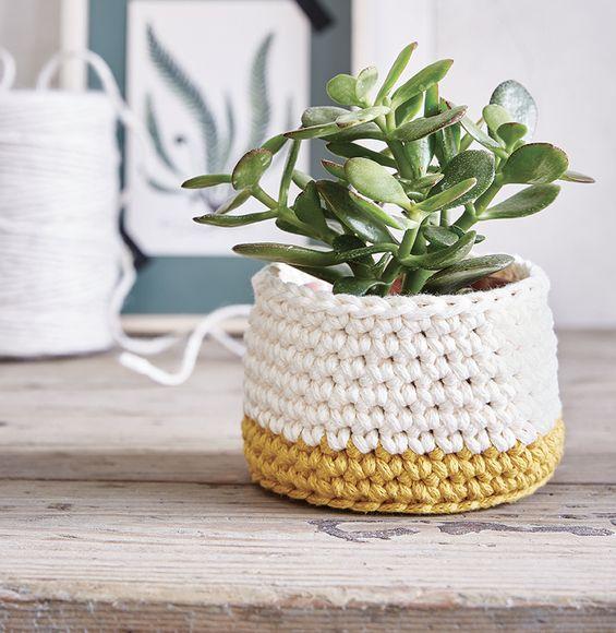 kit diy cache pot bicolore id es cadeaux f te des m res pinterest crochet tricot et kit diy. Black Bedroom Furniture Sets. Home Design Ideas