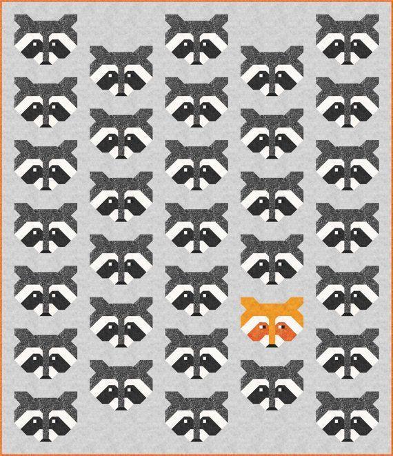 Raccoon Quilt Pattern, PDF, Instant Download, modern