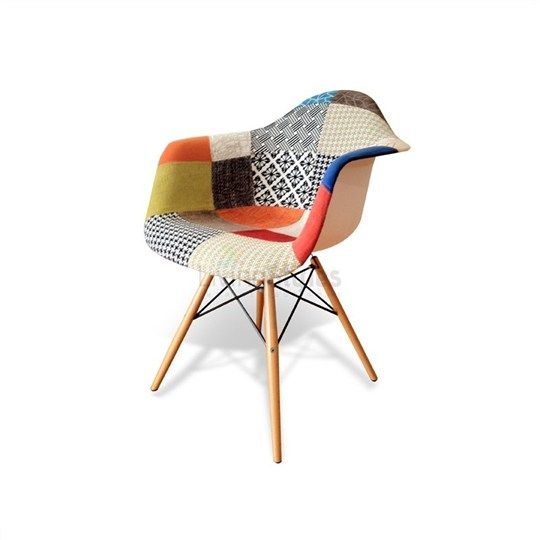 Replica Eames Patchwork Fabric Upholstered DAW Armchair