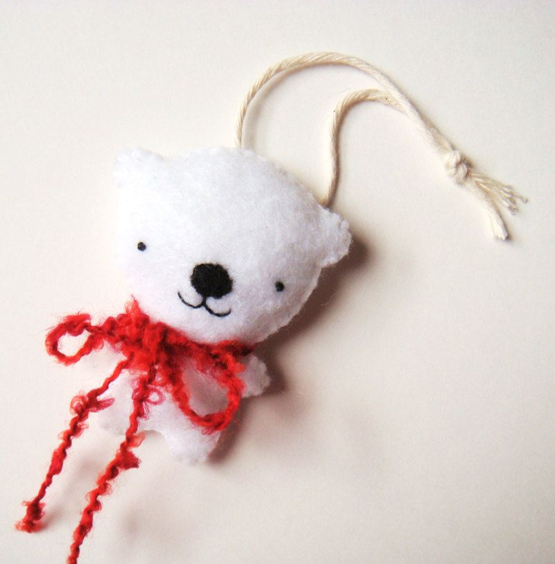 Christmas Ornament Polar Bear Snow White Red Cute Holiday Home