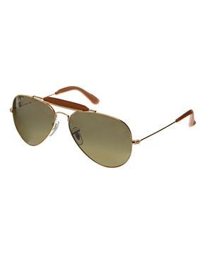 1ccd76ec00 Rayban - Lunettes de soleil aviateur avec détails en cuir | Wishlist ...