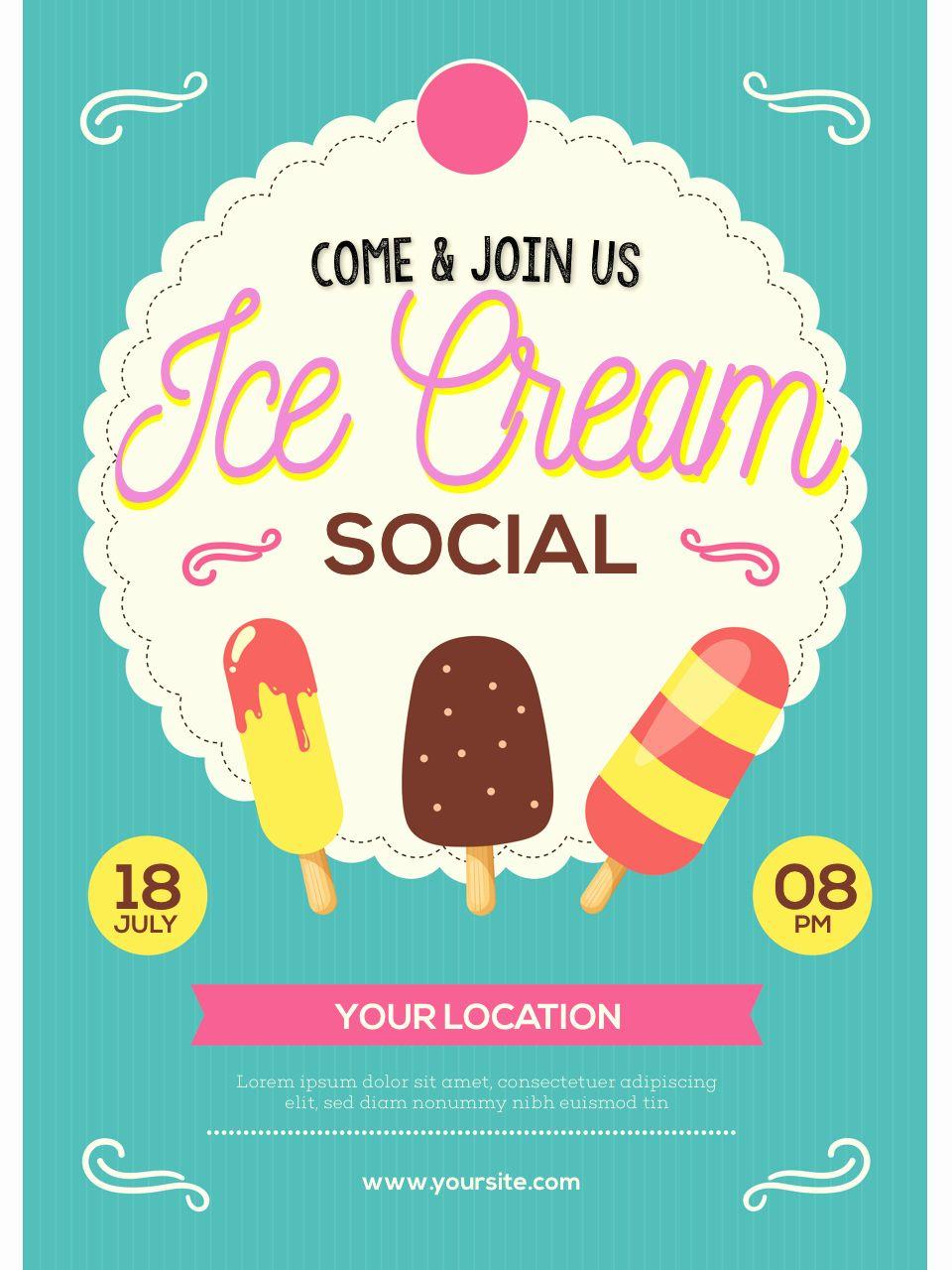 Ice Cream Social Flyer Template Free Elegant Ice Cream Social Flyer Ice Cream Social Ice Cream Party Flyer