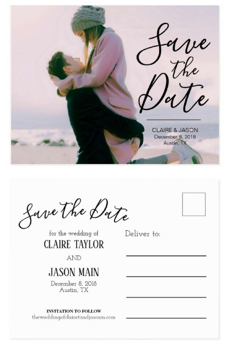 Wedding decorations beach december 2018 Romantic Couple Photo Save the Date Postcard
