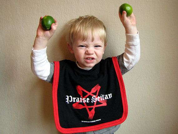 Praise Seitan Upcycled Baby/Toddler Bib Large by aguavino on Etsy, $13.00