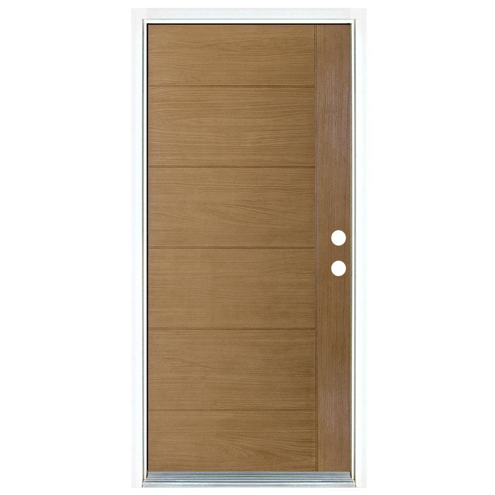 Mp Doors 36 In X 80 In Contemporary Teak Modern Light Oak Left Hand Inswing Stained Fiberglass Prehung Front Door N3068l7100y24 In 2020 Light Oak Modern Lighting Front Door