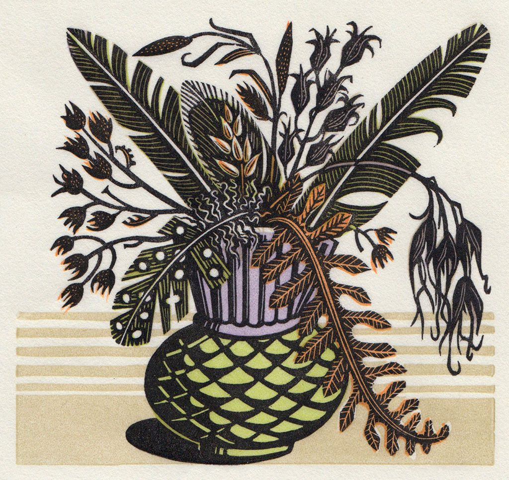 Thistle Pot By Angie Lewin Wood engraving