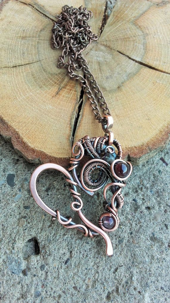 Wire heart pendant with natural gems on long copper chain,Copper ...