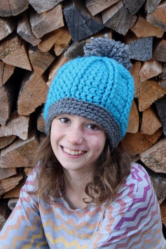 745c99e9a26 Double Ribbed Hat with pompom pdf PATTERN