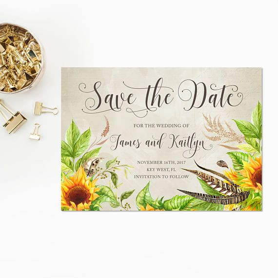 Wedding Save The Date Invitation Boho Watercolor Sunflowers And Feathers Bohemian Shower Brown Distressed Background