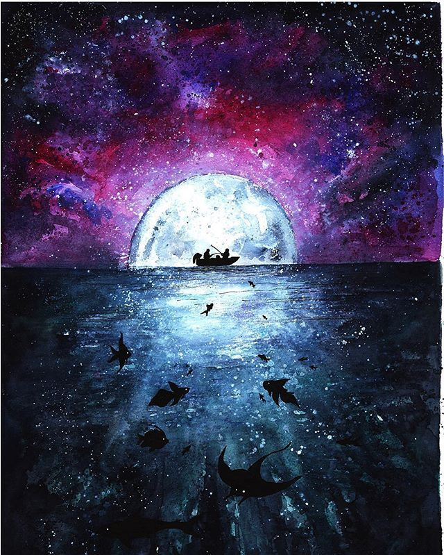 Instagram Photo By Danielle Foye Art C Jun 6 2016 At 5 48pm Utc Galaxy Painting Art Sea Art