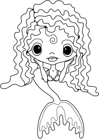 cute little mermaid coloring page