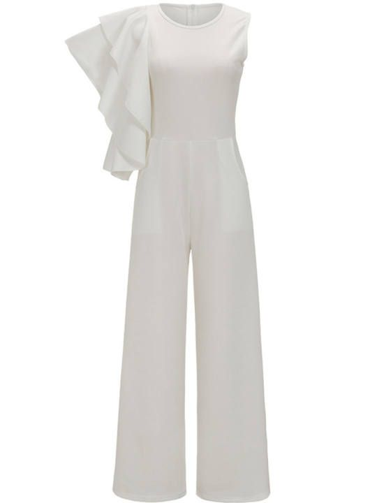 83515dee019 Round Neck Tiered Ruffle Sleeve Plain Wide-Leg Jumpsuit - berrylook ...