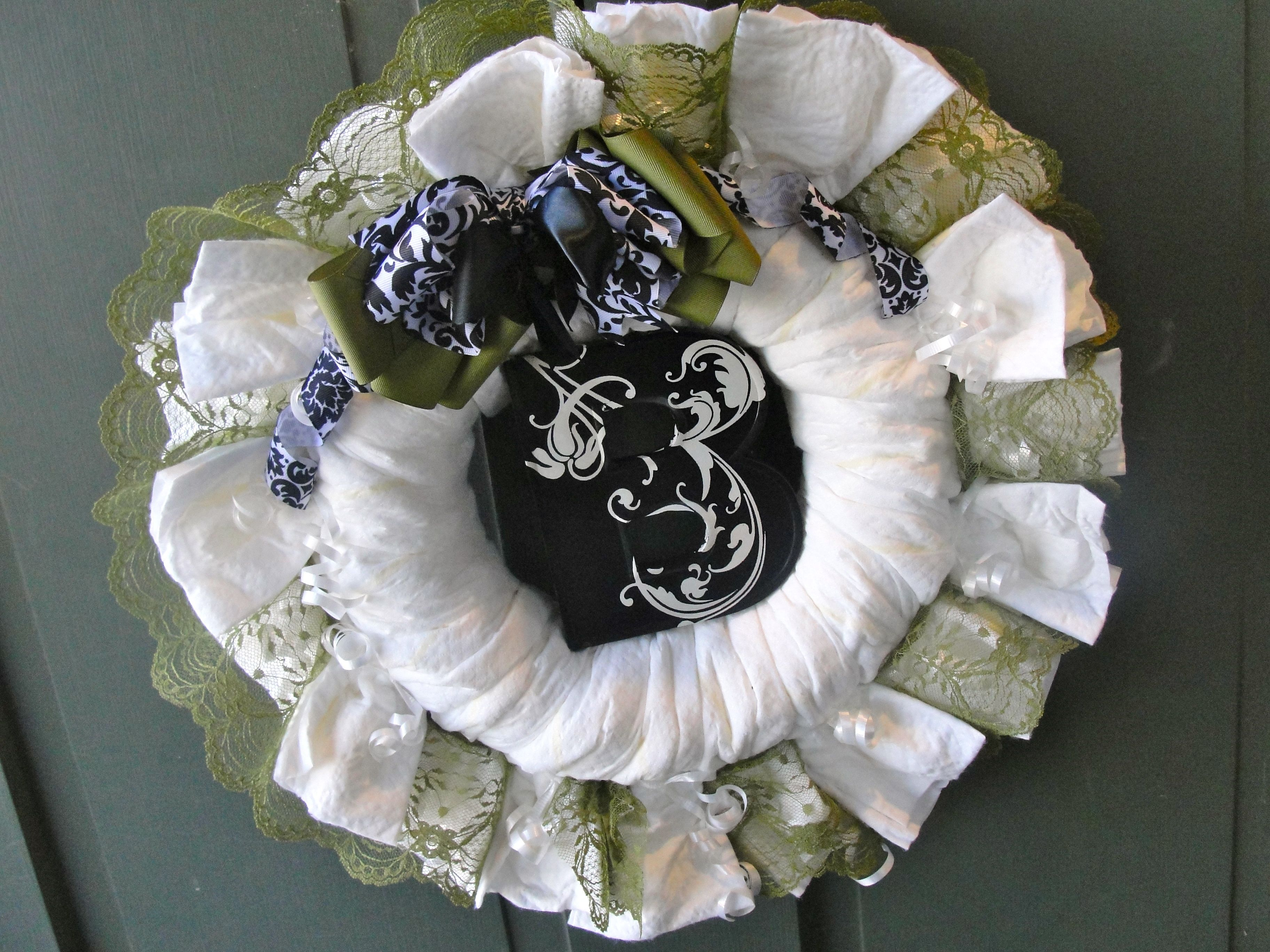 Diaper Wreath.. great decoration but also useful for Mom