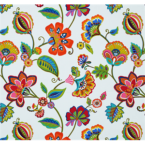 This is a pink, orange, blue and yellow floral cotton twill drapery fabric, suitable for any decor in the home or office. Perfect for pillows, drapes and bedding.v146NRR