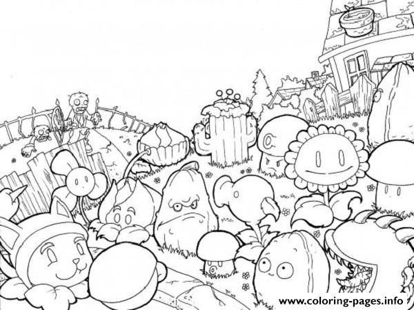 print world plants vs zombies coloring pages - Plants Vs Zombies Coloring Pages
