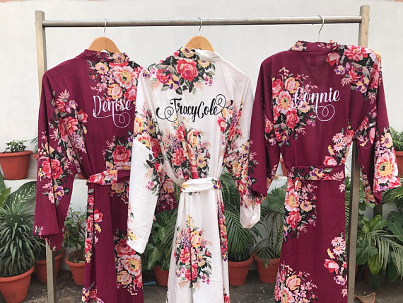 Burgundy bridesmaids cranberry kimono wine floral robe plum 73e2773b4