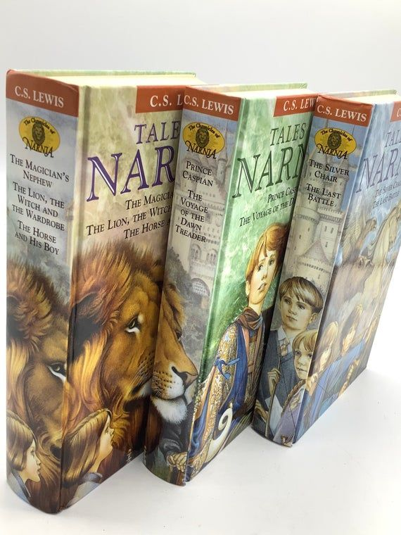 1st Edition (Thus) Hardback Books COMPLETE CHRONICLES of NARNIA All 7 Stories in 3 Volumes with Slip