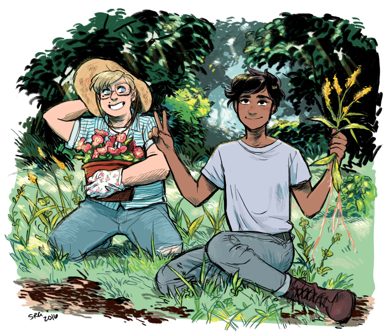 savi-bunnyart:  Gardening George and Johnny.