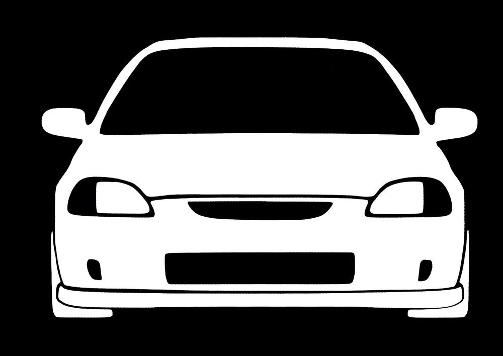 Honda Civic JDM Th Generation White Vinyl Decal Sticker White - Honda accord decals stickers