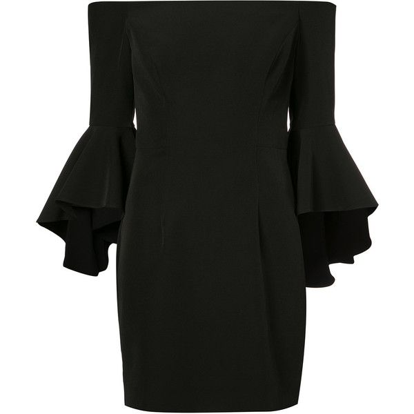 Milly flared sleeve fitted dress (€405) ❤ liked on Polyvore featuring dresses, black, flared sleeve dress, fitted dresses, bell sleeve dress, tight dresses and milly dresses