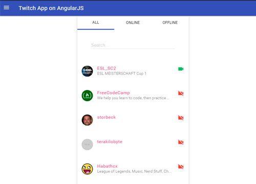 TwitchApp - AngularJS test project