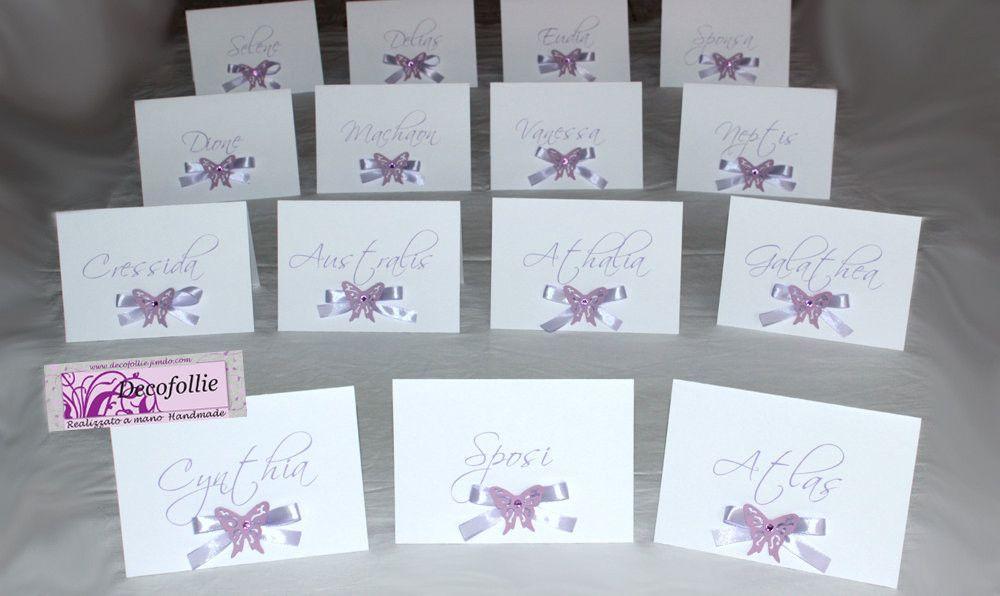 Segnatavolo battesimo ~ Segnatavoli farfalle glicine su www.decofollie.jimdo.com