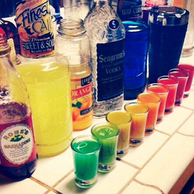RAINBOW SHOTS Grenadine Sweet & Sour Orange Juice Vodka Blue Curacao ...