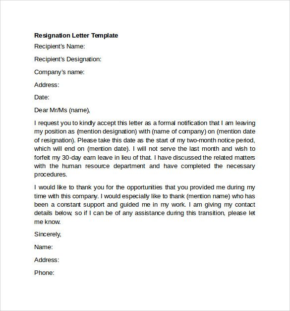 Image result for resignation letter examples Work related - Letter Of Resignation Template Word Free