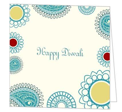 Circle Pattern Blue Diwali Greeting Card Motifs India - greeting card templates