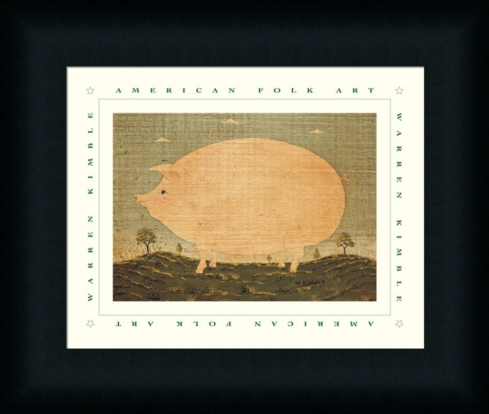 American Pig by Warren Kimble Primitive Folk Framed Art Print Wall ...