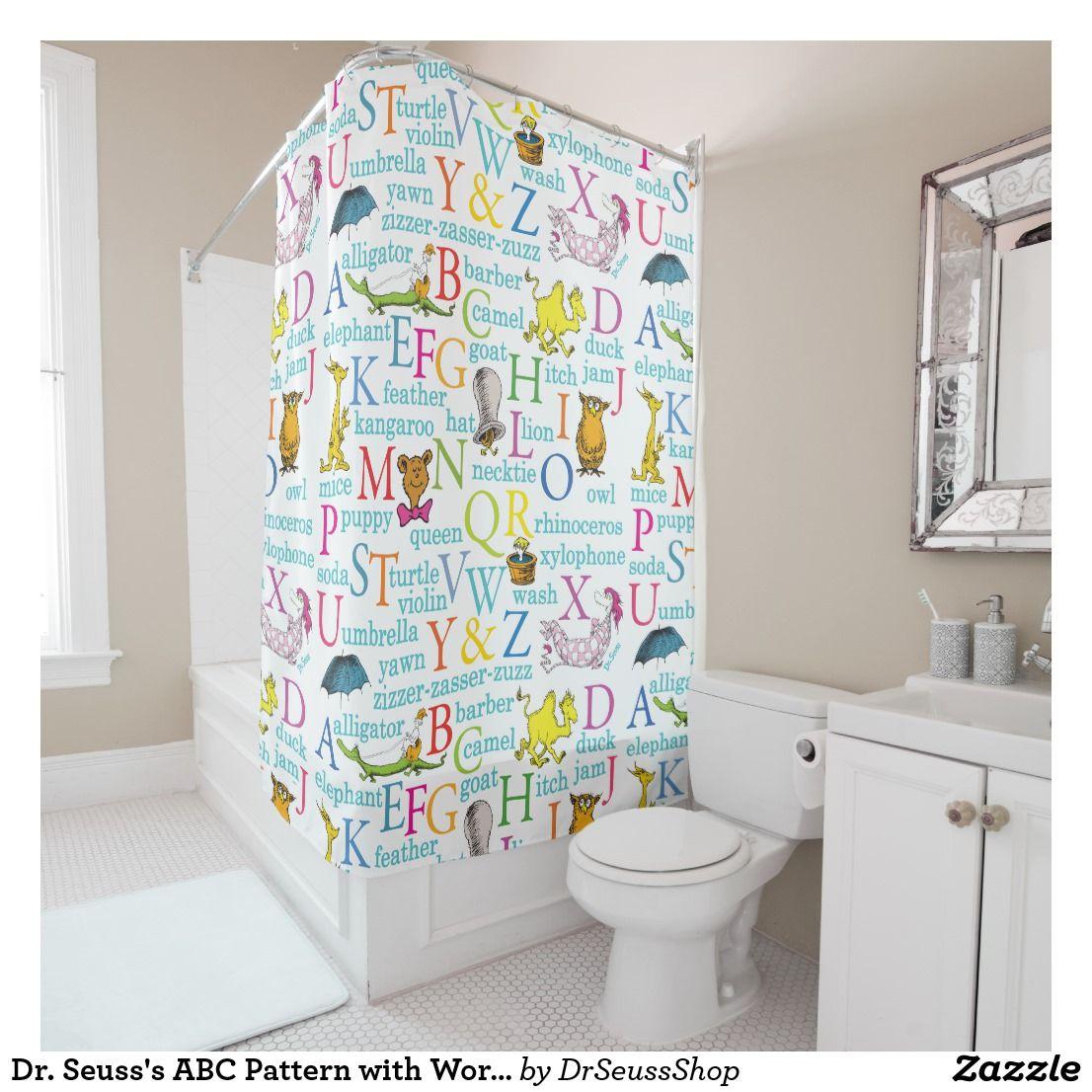 Dr Seuss S Abc Pattern With Words Shower Curtain Zazzle Com