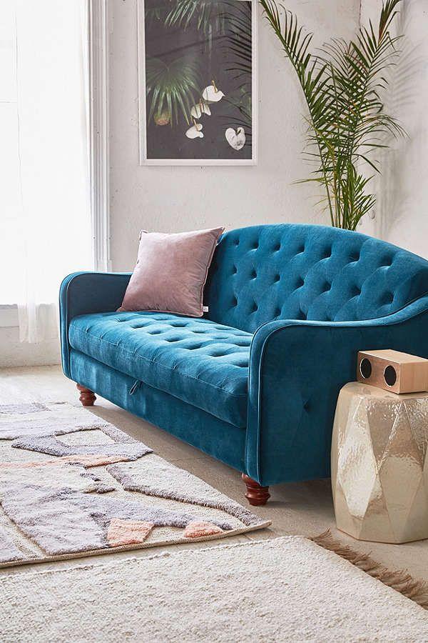 Slide View: 1: Adeline Storage Sleeper Sofa $699 Sale On UO   Turquoise SKU  39761002; Color 046