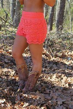cool dresses junior plus size gum drop lace shorts - coral (runs