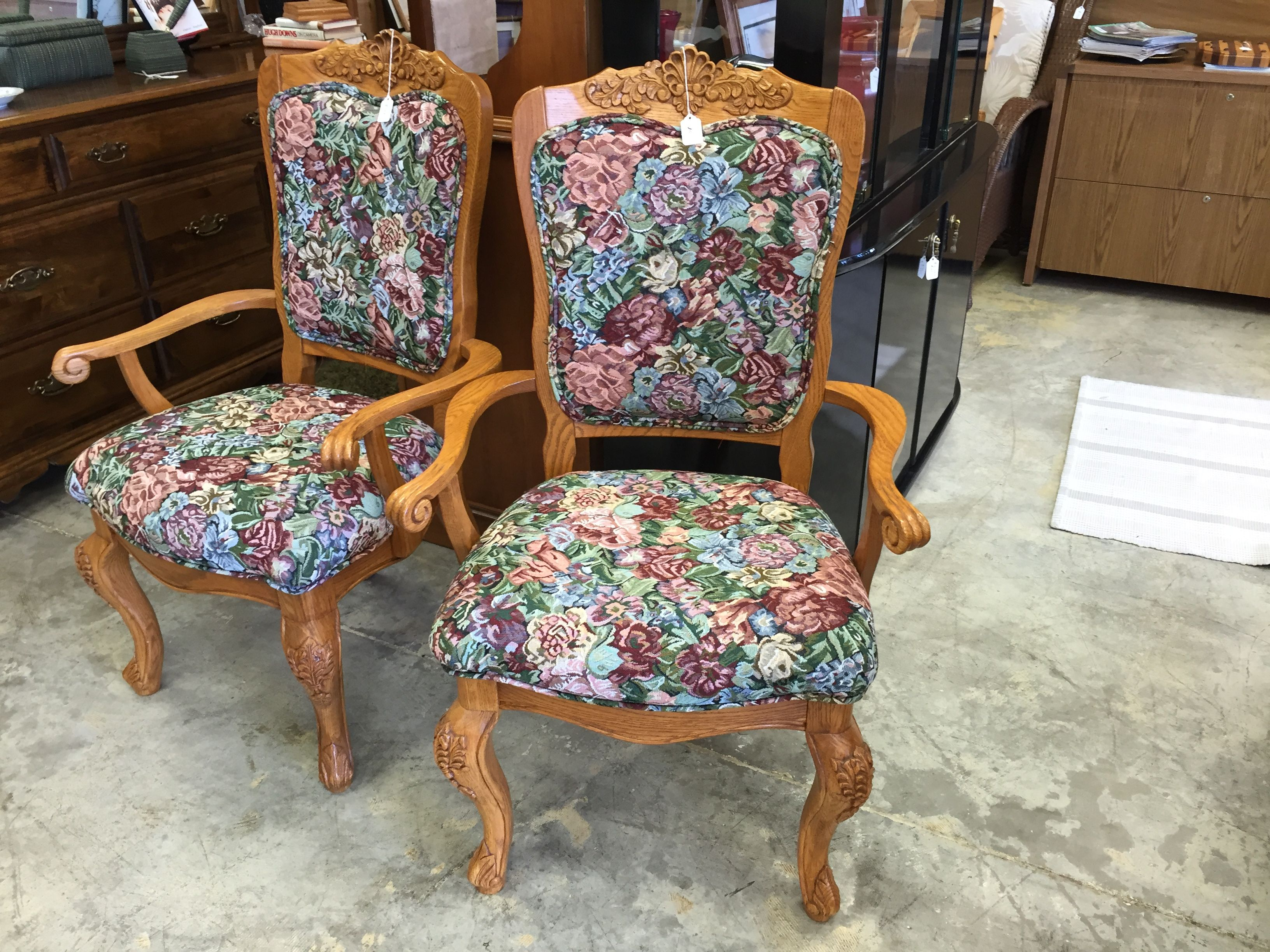 Two Lovely Floral Chairs Design Designer Fancy Forsale Home